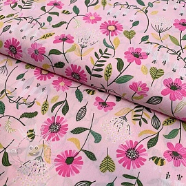 Cotton fabric Brushed flowers light rose