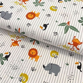 Cotton fabric Brushed Jungle party light grey