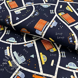 Cotton fabric Cars and traffic navy