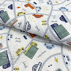 Cotton fabric Cars and traffic white