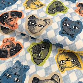Cotton fabric Cats and Dogs light blue
