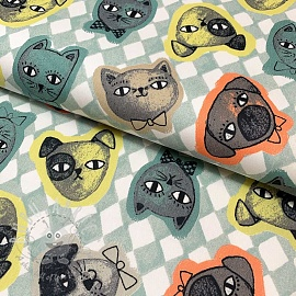 Cotton fabric Cats and Dogs mint