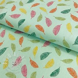 Cotton fabric Colorful Leaves aqua