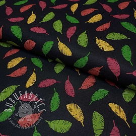 Cotton fabric Colorful Leaves black