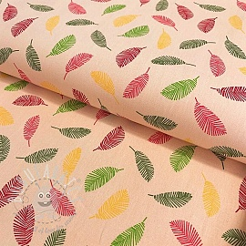 Cotton fabric Colorful Leaves soft salmon