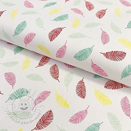 Cotton fabric Colorful Leaves white