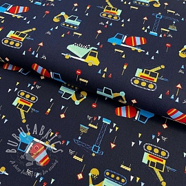 Cotton fabric Construction navy