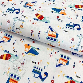 Cotton fabric Construction white