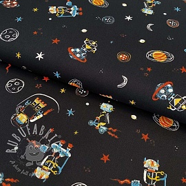 Cotton fabric Cool space vehicles black