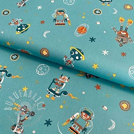 Cotton fabric Cool space vehicles teal
