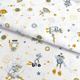 Cotton fabric Cool space vehicles white