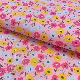 Cotton fabric Cute flower fields rose