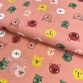 Cotton fabric Cutie animals blush