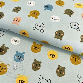 Cotton fabric Cutie animals light blue
