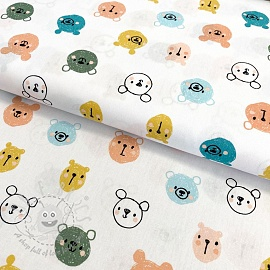 Cotton fabric Cutie animals white