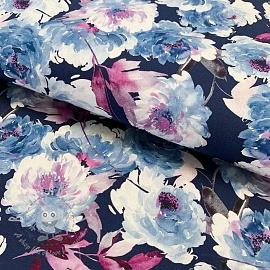 Cotton fabric Delia blue digital print