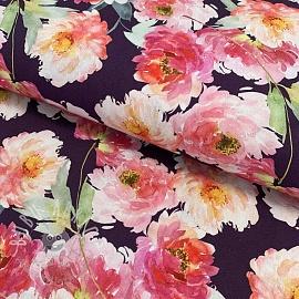 Cotton fabric Delia purple digital print