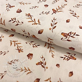 Cotton fabric Gaia Birds branch digital print