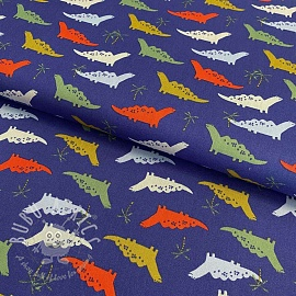Cotton fabric Dino cobalt