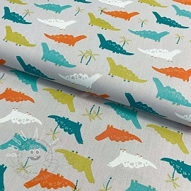 Cotton fabric Dino light grey