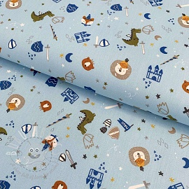 Cotton fabric Dinos at the castle light blue