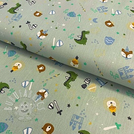 Cotton fabric Dinos at the castle soft mint