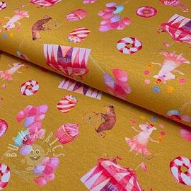 Cotton fabric Fantasy circus ochre digital print