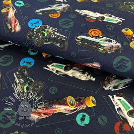 Cotton fabric Fast and furious navy digital print