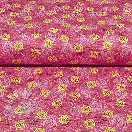 Cotton fabric FIORELLA CIRCLE GEO Pink