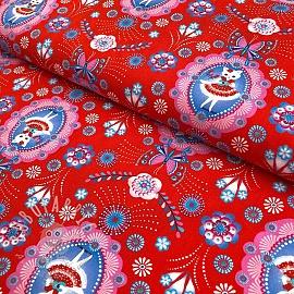 Cotton fabric Flamenco kitty red digital print