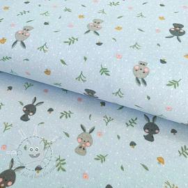 Cotton fabric FLANEL Rabbit baby blue