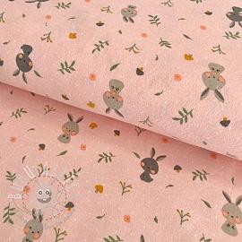 Cotton fabric FLANEL Rabbit light rose