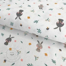 Cotton fabric FLANEL Rabbit white