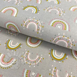 Cotton fabric FLANEL Rainbow light grey