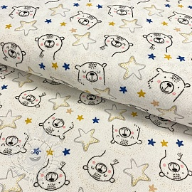 Cotton fabric FLANEL Sweet bear ecru