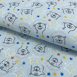 Cotton fabric FLANEL Sweet bear light blue