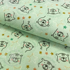 Cotton fabric FLANEL Sweet bear mint