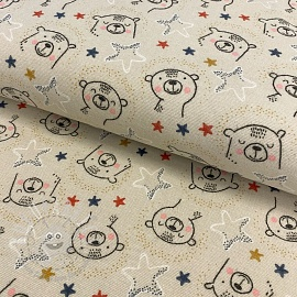Cotton fabric FLANEL Sweet bear sand