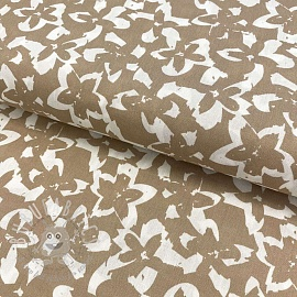 Cotton fabric Flower imprint dark sand