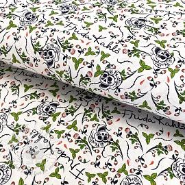 Cotton fabric FRIDA Hojas Día de los muertos digital print