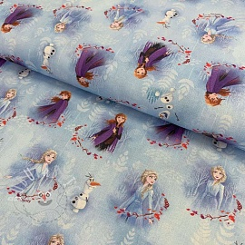 Cotton fabric Frozen Anna and Elza blue digital print