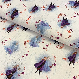 Cotton fabric Frozen Anna and Elza white digital print
