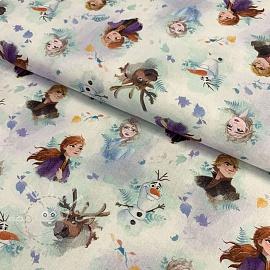 Cotton fabric Frozen characters digital print