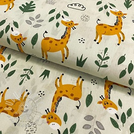 Cotton fabric Giraffe light mint