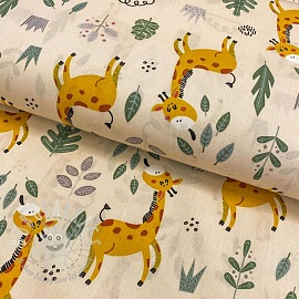 Cotton fabric Giraffe light sand