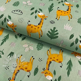 Cotton fabric Giraffe old green
