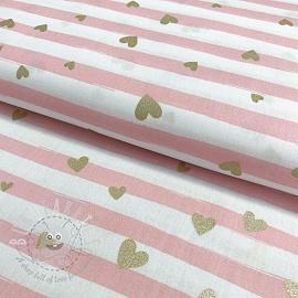 Cotton fabric Glitter love light rose