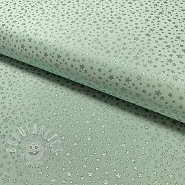 Cotton fabric Glitter star mint
