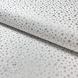 Cotton fabric Glitter star white