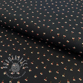 Cotton fabric GOTS Flowers mini black